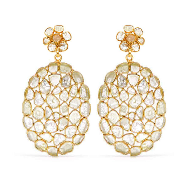 Golden Diamond Diaphanous Oval Drop Earrings-Earrings-Jaipur Atelier