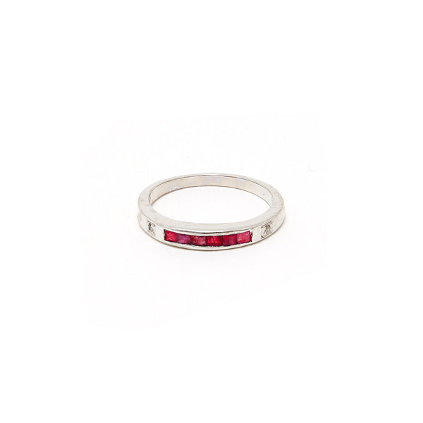 Ruby Baguette Inlay Ring-Ring-Jaipur Atelier
