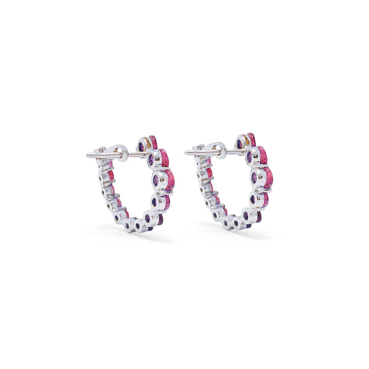 Ruby Swirl White Gold Earrings-Earrings-Jaipur Atelier