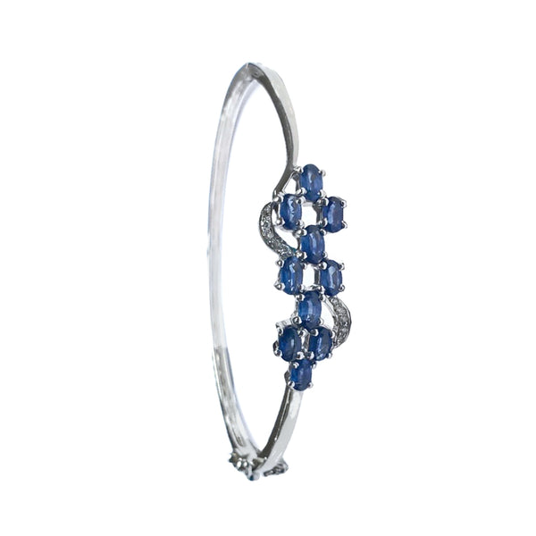 Sapphire Diamond Flower Bangle