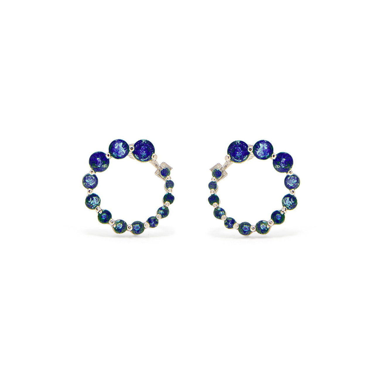 Sapphire Swirl White Gold Earrings-Earrings-Jaipur Atelier