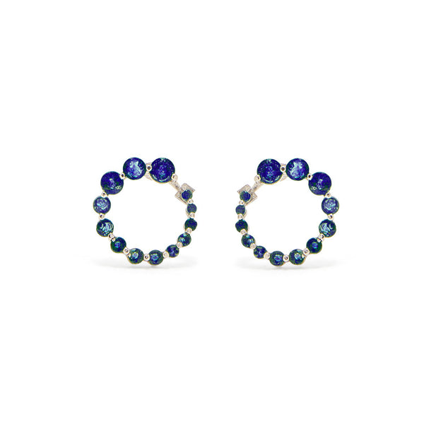 Sapphire Swirl White Gold Earrings