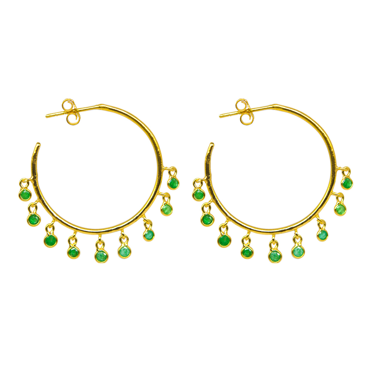 Jerry Emerald Hoop Earrings