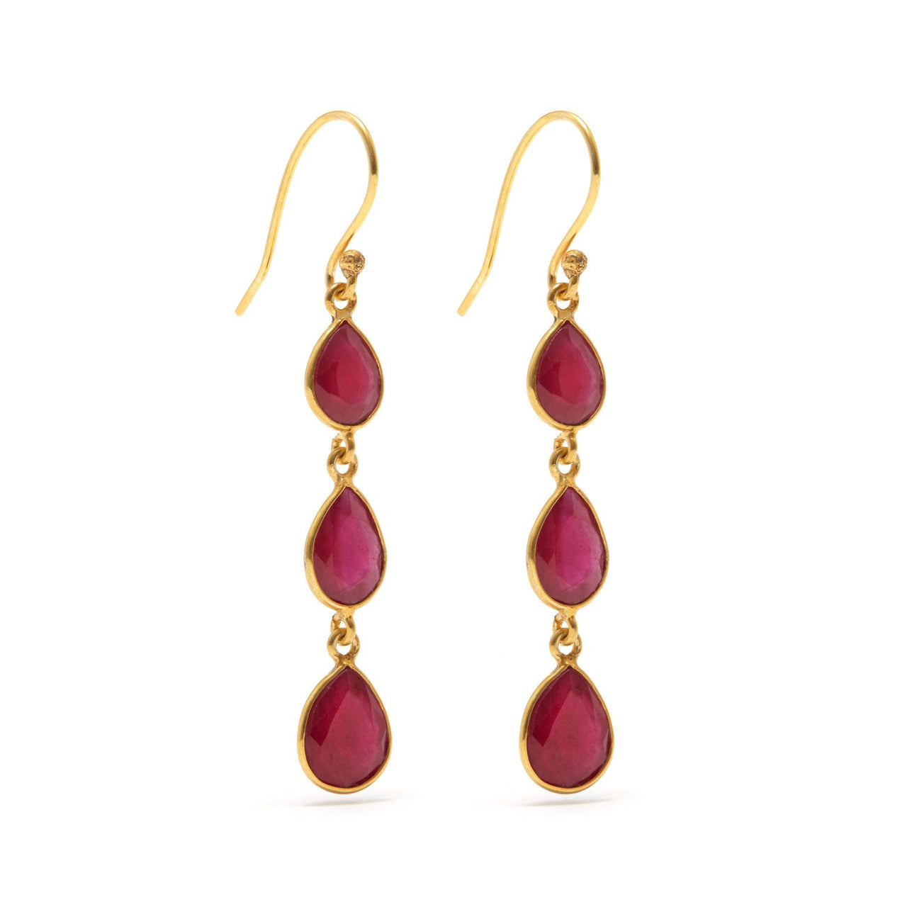 Jaipur Atelier Ruby Rush 3 Petit Drop Earrings