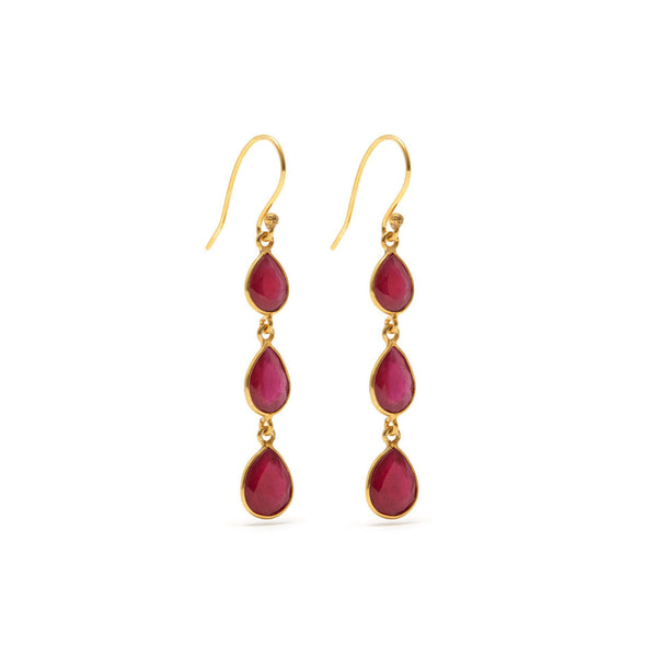 Ruby Rush Three Earrings