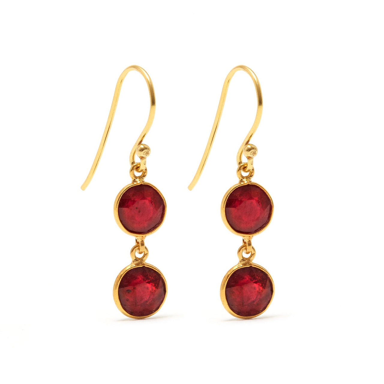 Jaipur Atelier Ruby Rush 2 Petit Drop Earrings