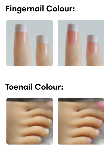 Finger nail and toe nail options for sex dolls