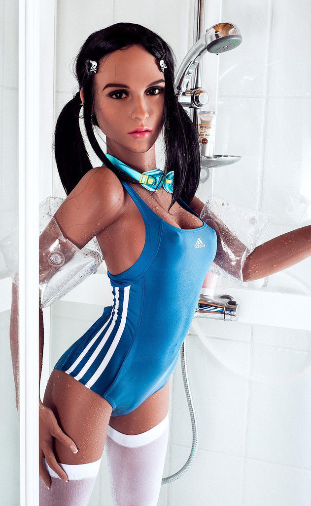 Lucy,  a realistic sex doll by WM-Dolls, wearing a swimming costume.