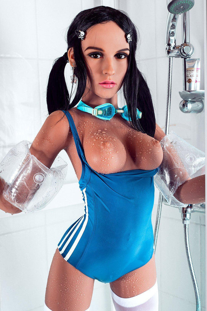 Lucy,  a realistic sex doll by WM-Dolls, wearing a swimming costume & showing her breasts.
