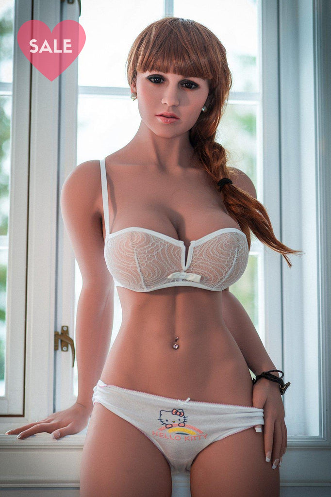 Taylor, a realistic sex doll by WM-Dolls with red hair & wearing white lingerie.