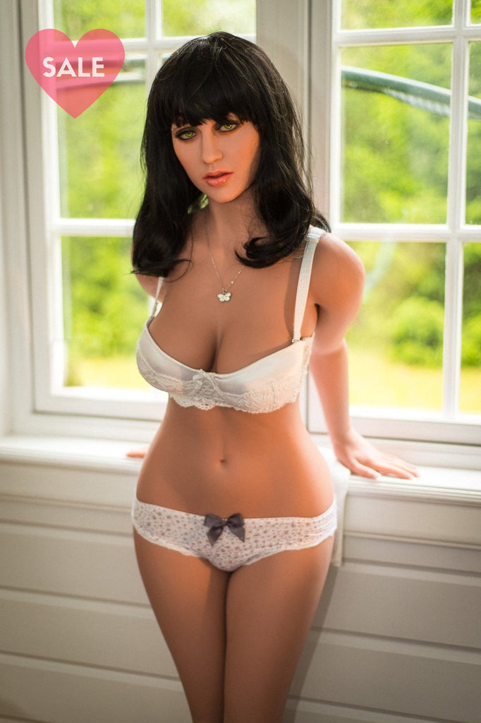 Dark haired TPE Sex doll with white bra and knickers. Made by WM Dolls, model: WM 160cm D Cup