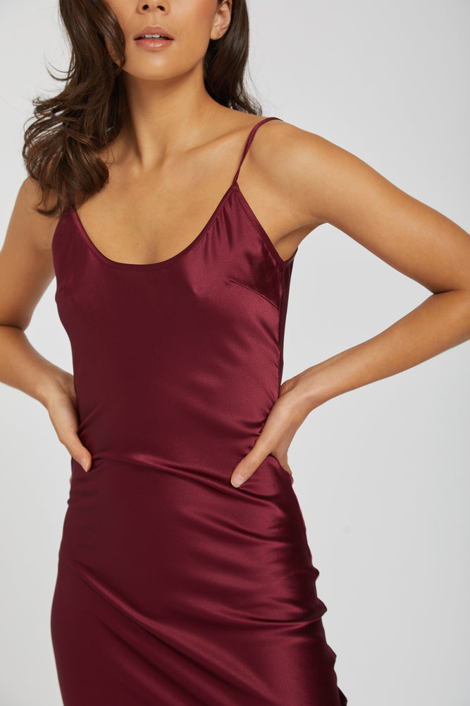 Dahlia silk dress - bordeaux