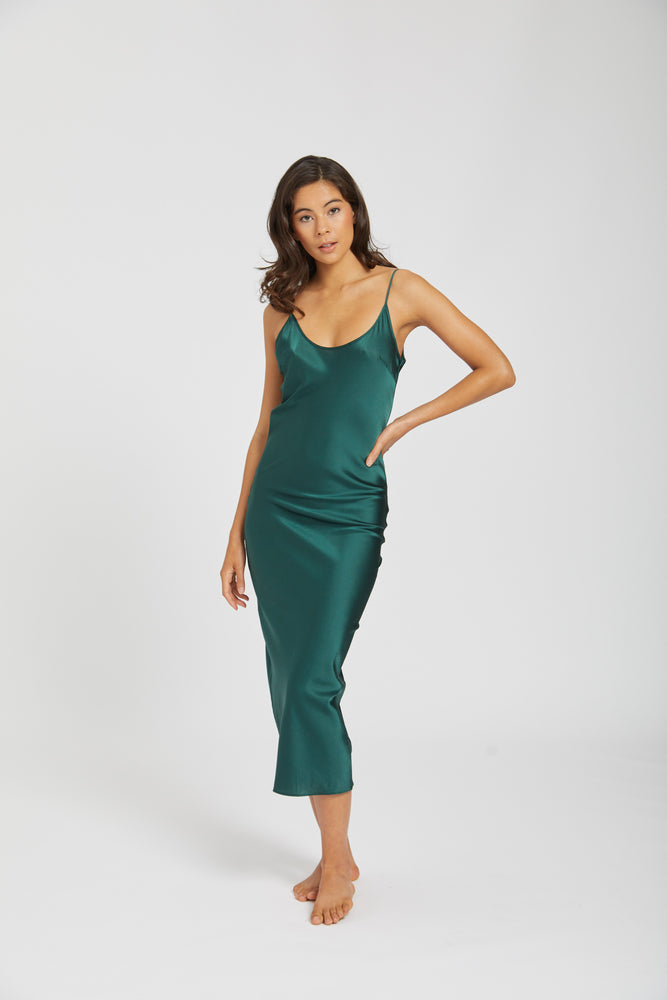 Dahlia silk dress - forest