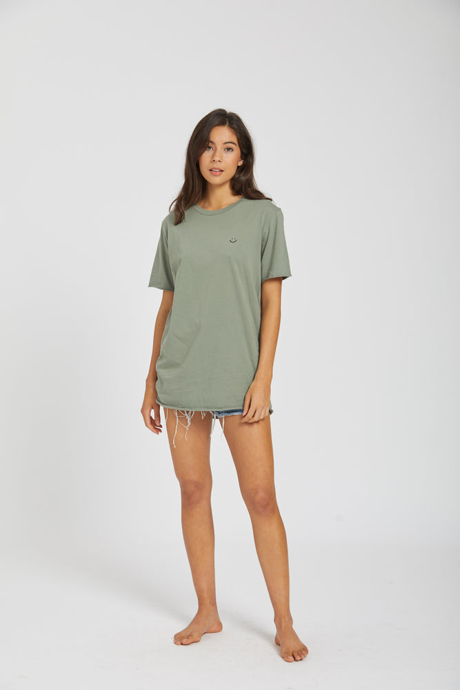Crew neck raw t-shirt - palm