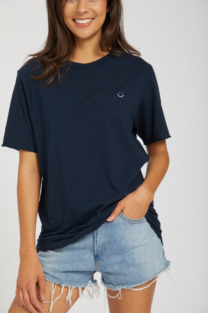 Crew neck raw t-shirt - navy