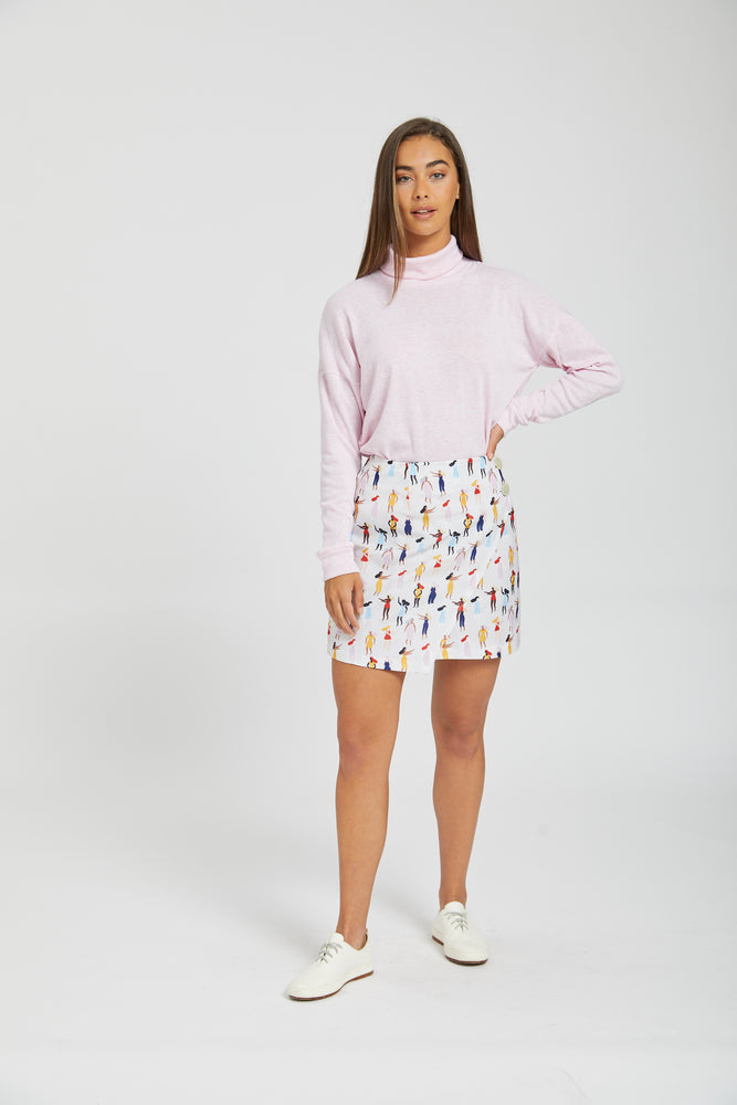 Printed asymmetrical skirt