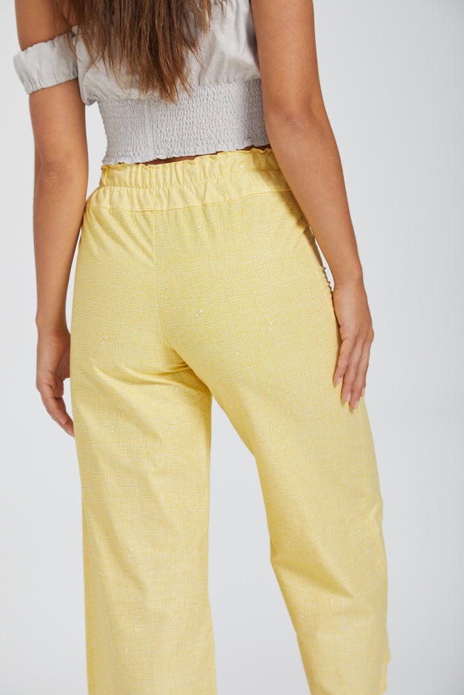 Wideleg pants - yellow hash