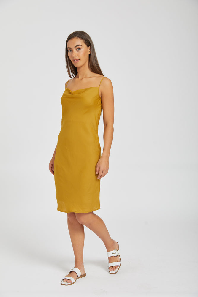 Lucy in the sky slip dress - gold