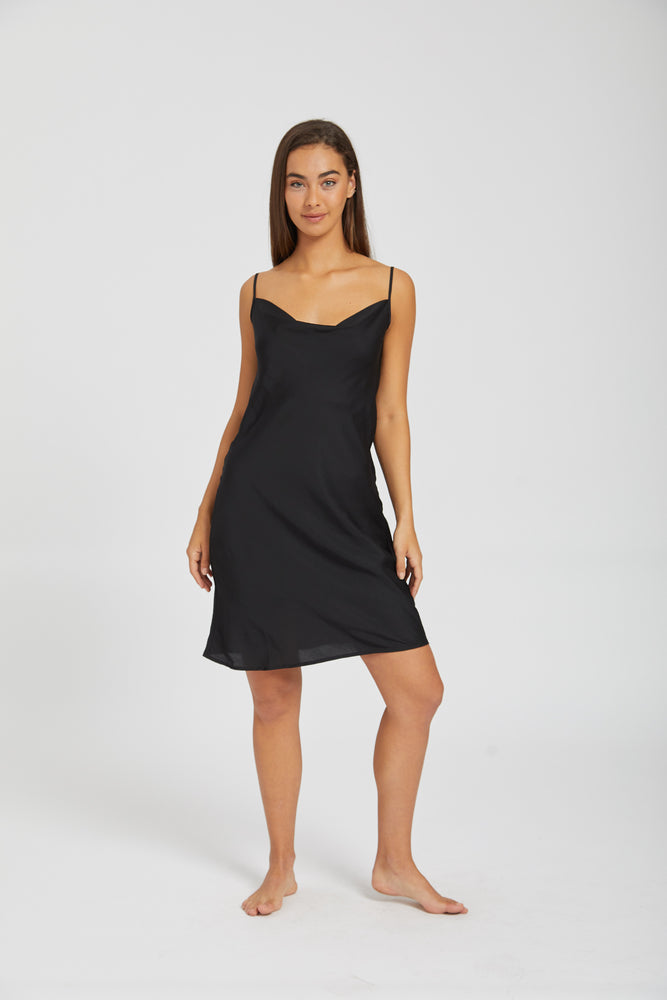 Lucy in the sky slip dress - black