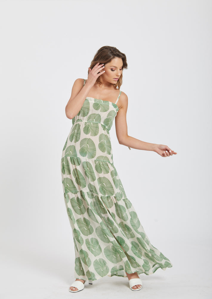 Maxi tiered dress - green
