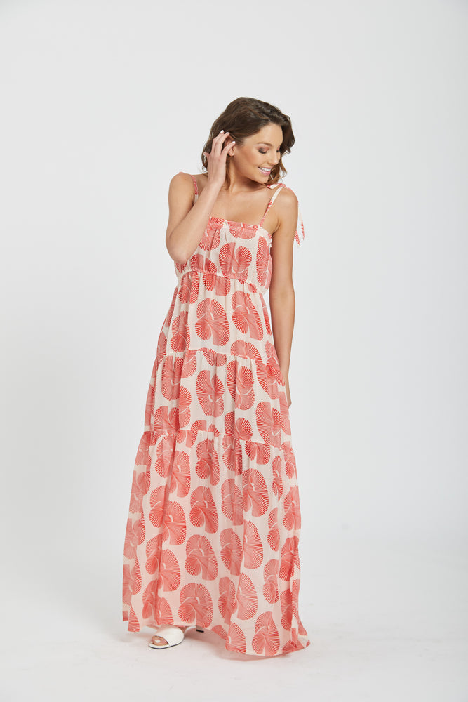 Maxi tiered dress - red