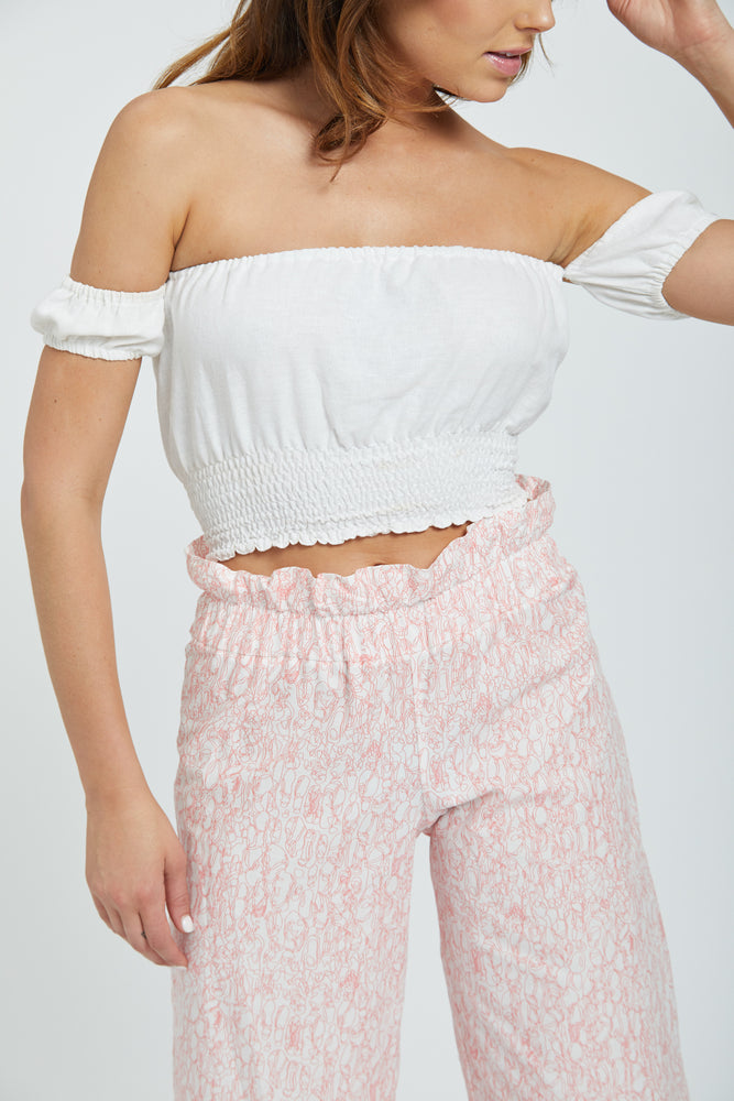 Shirred peasant top - white