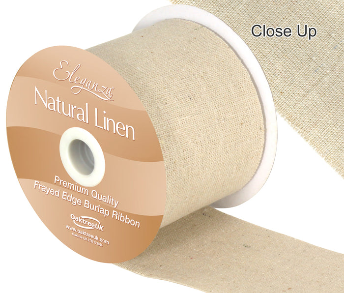 Copy of 70mm Natural Linen Frayed Edge Burlap Ribbon