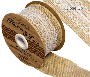 Eleganza 50mm Hessian & White Lace Band Burlap Ribbon - Button Blue Crafts