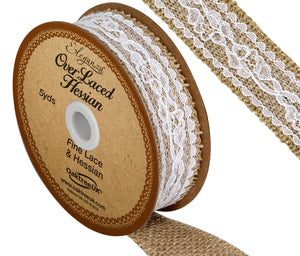 Eleganza 26mm White Overlaced Hessian Burlap Ribbon - Button Blue Crafts