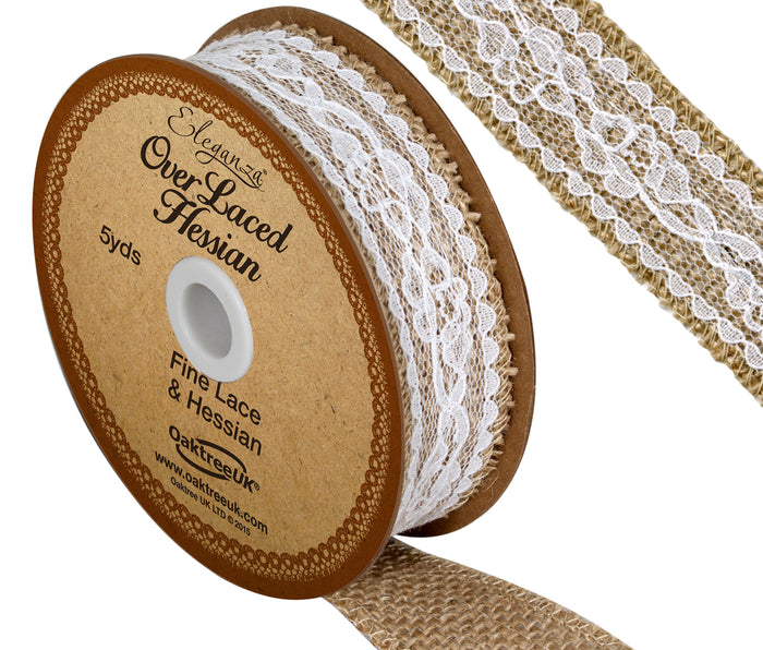 Eleganza 26mm White Overlaced Hessian Burlap Ribbon