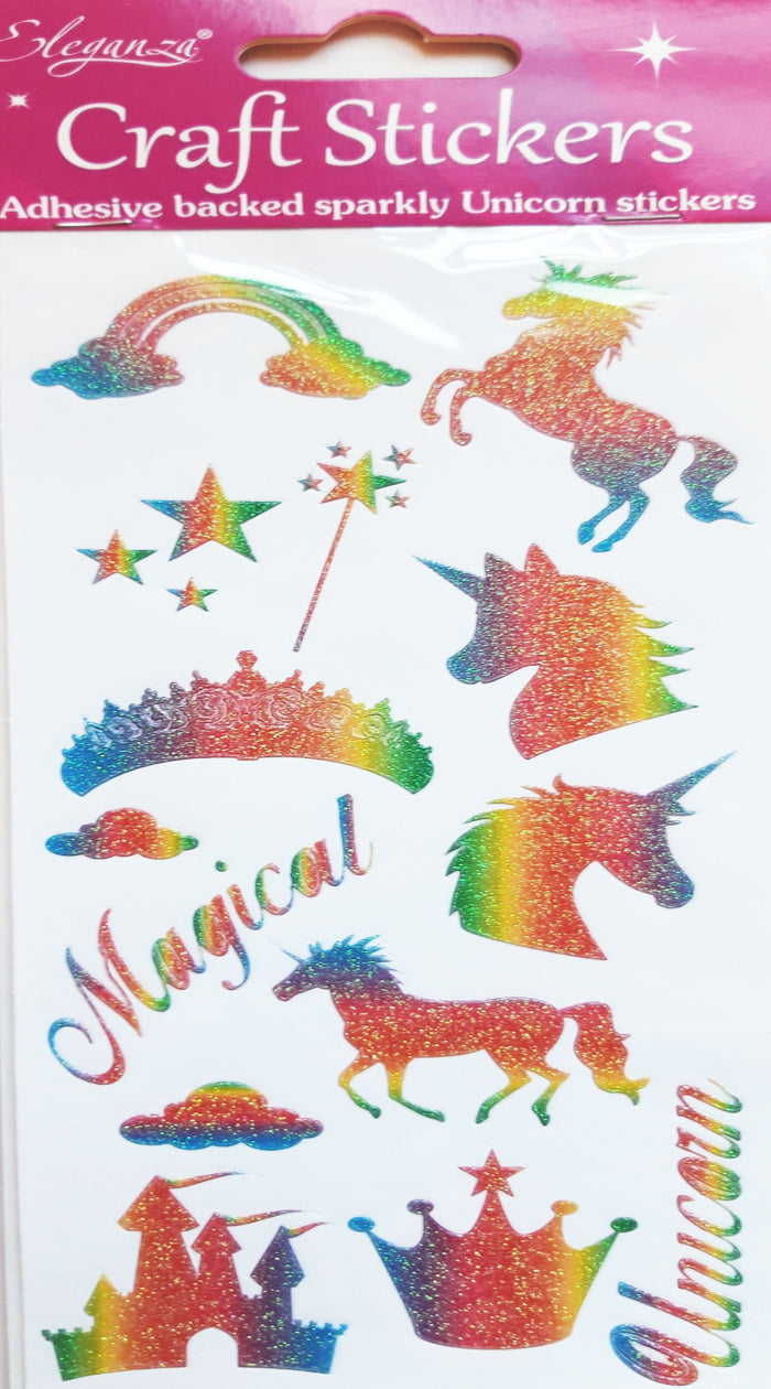 Eleganza Rainbow Unicorn Glitter Craft Stickers - 16 Pack