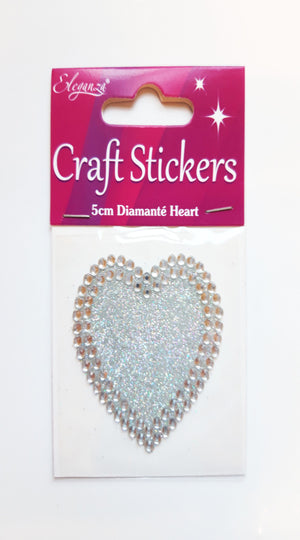 Large 5cm Heart Glitter / Diamante Rhinestone Craft Sticker - Eleganza - Button Blue Crafts