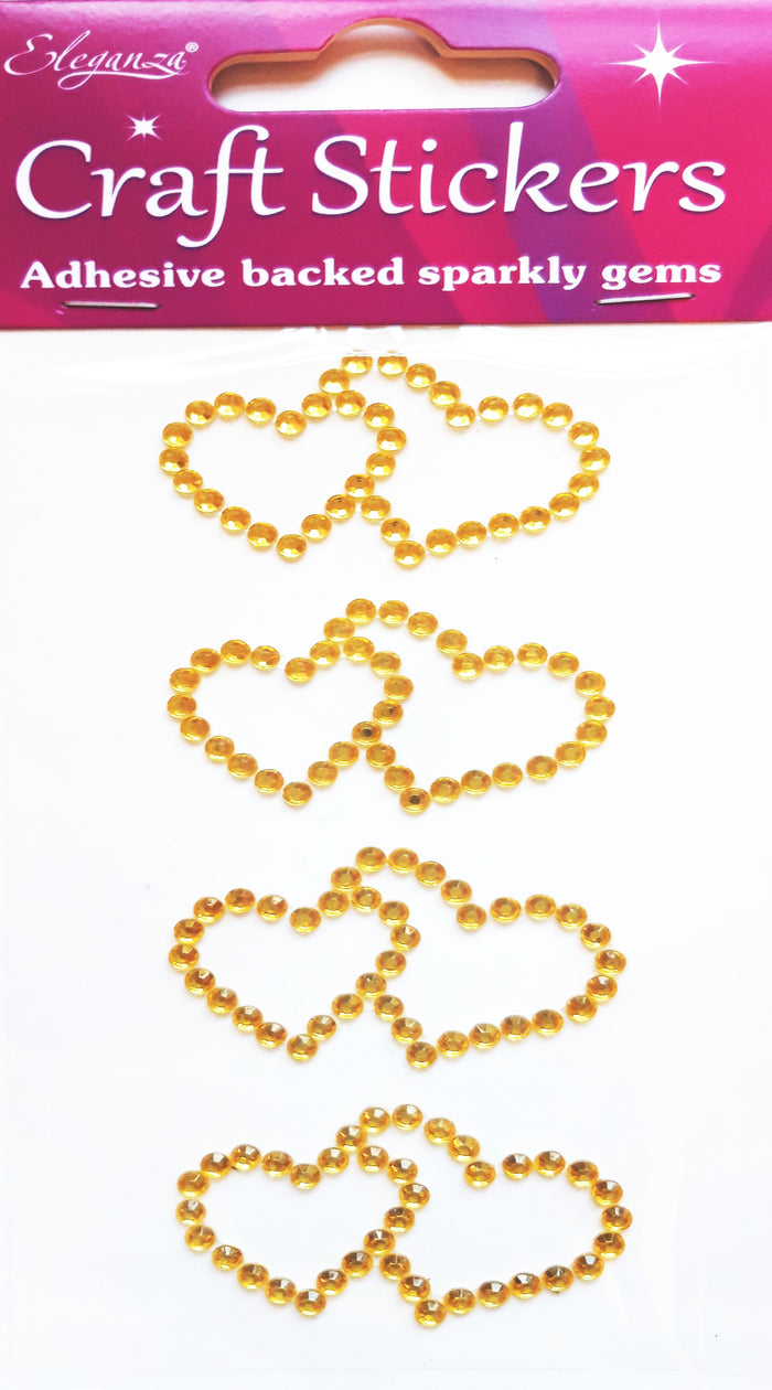 Gold 4.5cm Double Diamante Hearts - 4 Pack Rhinestone Craft Stickers