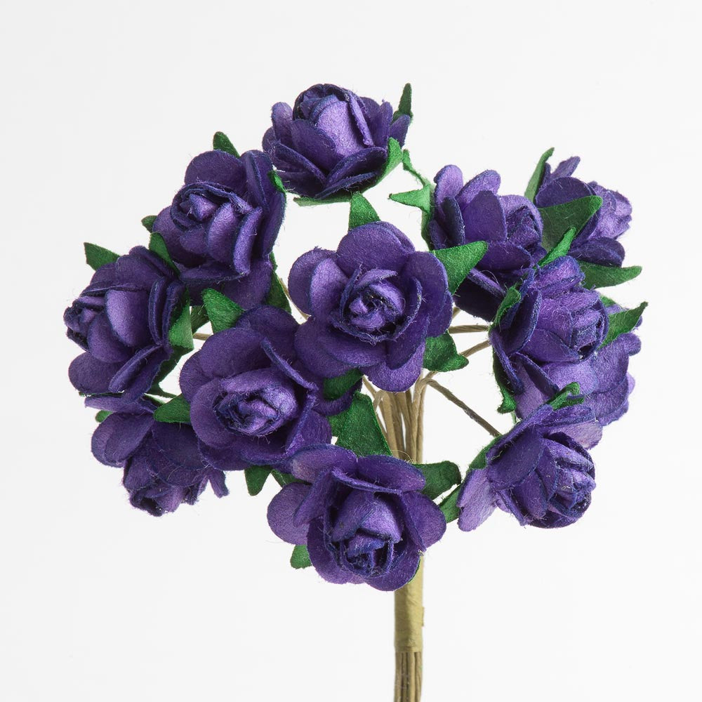 Purple 1.5cm Miniature Paper Tea Roses - Bunch of 12 Stems - Button Blue Crafts