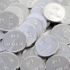 Just Married - Silver Foiled Milk Chocolate Coins - Wedding Favours - Button Blue Crafts
