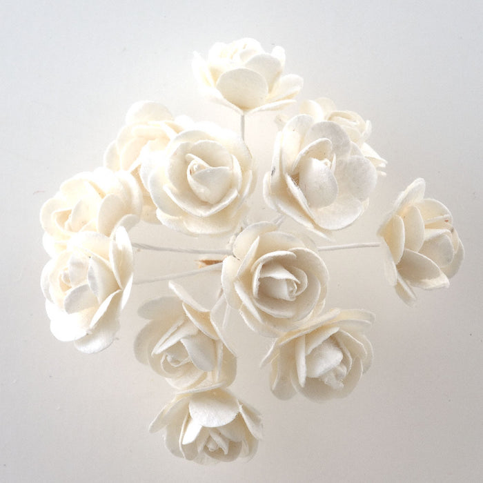Off White / White 1.5cm Miniature Paper Tea Roses - Bunch of 12 Stems