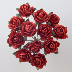 Red 1.5cm Miniature Paper Tea Roses - Bunch of 12 Stems - Button Blue Crafts