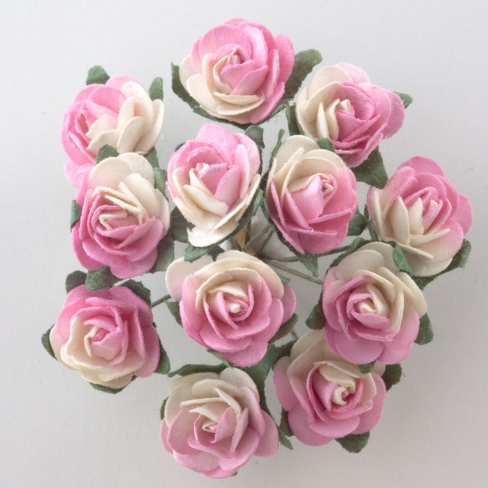 Two Tone Pink / Cream 1.5cm Miniature Paper Tea Roses - Bunch of 12 Stems
