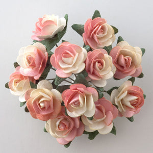 Two Tone Peach / Cream 1.5cm Miniature Paper Tea Roses - Bunch of 12 Stems - Button Blue Crafts