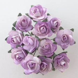 Two Tone Lilac / Cream 1.5cm Miniature Paper Tea Roses - Bunch of 12 Stems - Button Blue Crafts