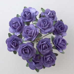 Lavender 1.5cm Miniature Paper Tea Roses - Bunch of 12 Stems - Button Blue Crafts