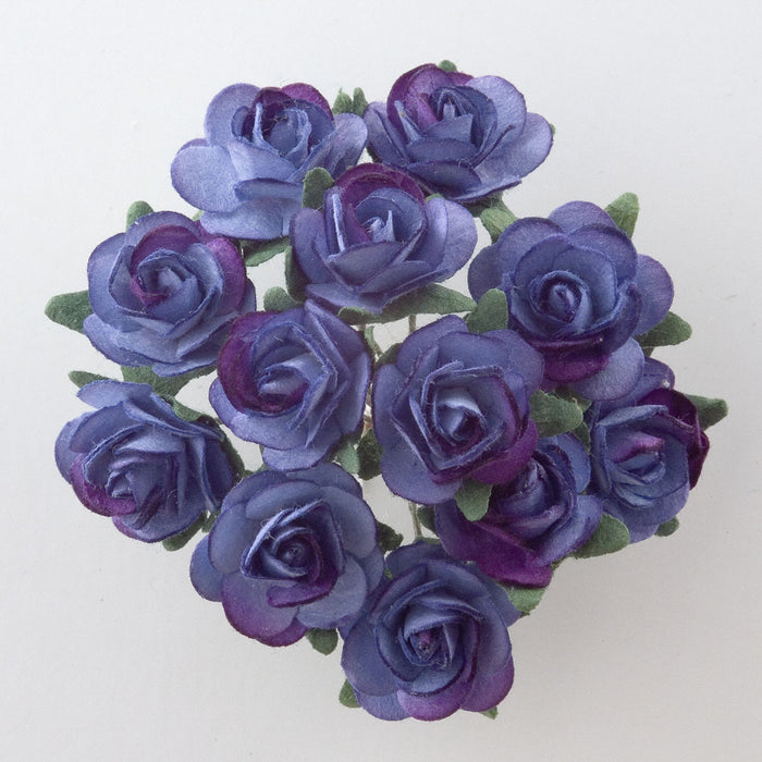 Two Tone Hyacinth Blue 1.5cm Miniature Paper Tea Roses - Bunch of 12 Stems