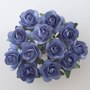 Blue 1.5cm Miniature Paper Tea Roses - Bunch of 12 Stems - Button Blue Crafts