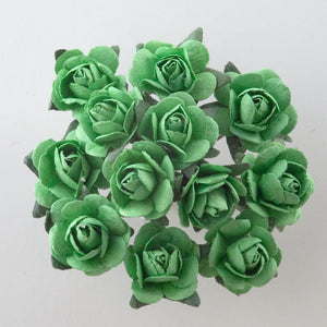 Green 1.5cm Miniature Paper Tea Roses - Bunch of 12 Stems - Button Blue Crafts