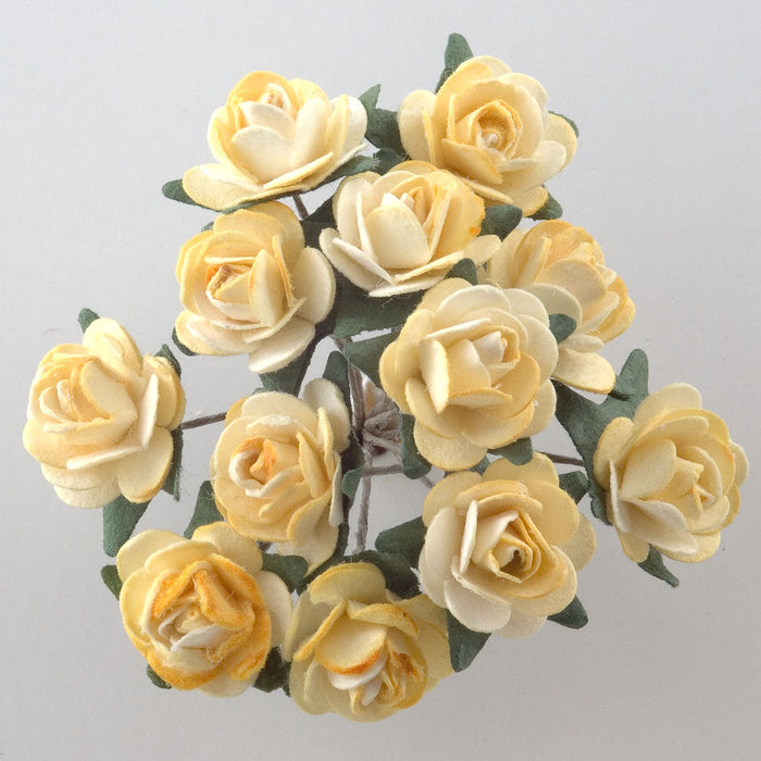 Two Tone Yellow / Cream 1.5cm Miniature Paper Tea Roses - Bunch of 12 Stems