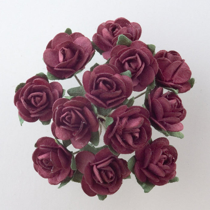 Burgundy 1.5cm Miniature Paper Tea Roses - Bunch of 12 Stems