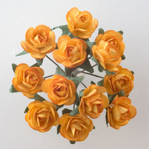 Gold 1.5cm Miniature Paper Tea Roses - Bunch of 12 Stems - Button Blue Crafts