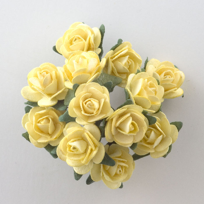 Lemon Yellow 1.5cm Miniature Paper Tea Roses - Bunch of 12 Stems