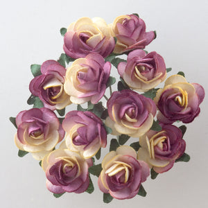Two Tone Burgundy / Cream 1.5cm Miniature Paper Tea Roses - Bunch of 12 Stems - Button Blue Crafts