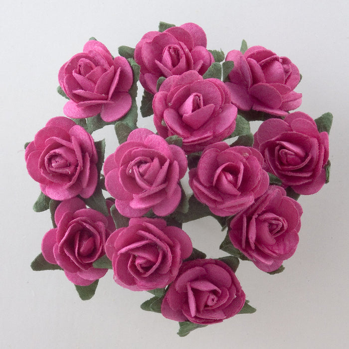 Fuchsia Pink 1.5cm Miniature Paper Tea Roses - Bunch of 12 Stems